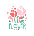 flower logo template colorful hand drawn vector image vector image