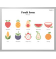 fruit icons flat pack vector image