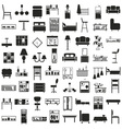 furniture black icons on white vector image vector image