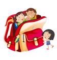 Girls and school bag vector image