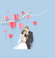 happy bride and groom vector image vector image