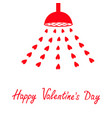 happy valentines day red shower bath douche with vector image vector image