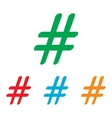 Hashtag sign Colorfull set vector image vector image