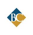 initial bc rhombus logo design vector image vector image