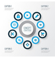 interface icons colored set with edit cut search vector image vector image