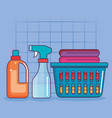 laundry basket clothes spray and detergent vector image