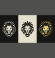 lion head vintage logo icon vector image