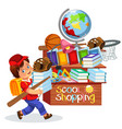 little boy doing school shopping vector image vector image