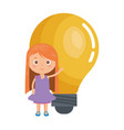 little student girl with bulb vector image