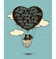 Love Greeting Card With Flying Couple In Hot Air vector image vector image