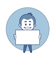 Man with white board for message vector image