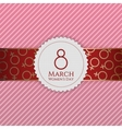 March 8 Womens Day circle Banner on Ribbon vector image