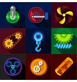 mechanical gear icons set flat style vector image vector image
