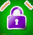 Open Padlock icon sign Symbol chic colored sticky vector image vector image