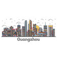 outline guangzhou china city skyline with color vector image vector image