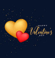 red and golden 3d hearts background for vector image vector image