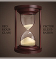 red hourglass on brown background future concept vector image vector image