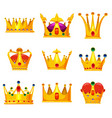 set royal golden crowns with jewels vector image