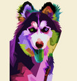 siberian husky dog on pop art style vector image vector image