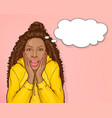 surprised african american woman with afro hair vector image vector image