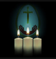 three burning candles with the silhouette of the vector image