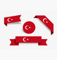 turkish flag stickers and labels vector image