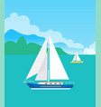 two pretty sailsboats color vector image vector image