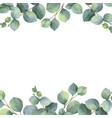 watercolor green floral card with silver vector image vector image