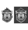 yellowstone national park vintage monochrome logo vector image vector image