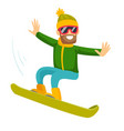 young caucasian white man riding a snowboard vector image
