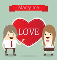 business man and woman with red heart married wedd vector image