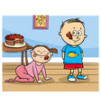 little boy and baby girl with cake cartoon vector image
