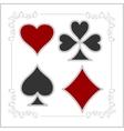 Playing card symbols with shadows set vector image