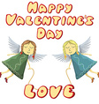 Valentine Fairys flying with love isolated on vector image