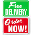 Free Delivery Order Now website ad icons signs vector image