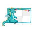a dinosaur on paper border vector image