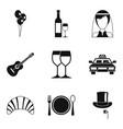 achievement icons set simple style vector image vector image