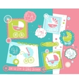 Baby Shower scrap-booking elements set with Prams vector image vector image