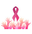 breast cancer awareness pink ribbon with pink vector image