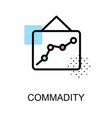 commadity icon with graph on white background vector image vector image