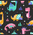 cute colorful dinosaurs abstract seamless vector image vector image