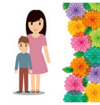 cute mom and son flower border decoration vector image