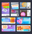 discount voucher and cutting shopping coupons vector image