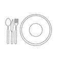 dish with cutlery icon vector image