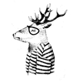 dressed up deer in hipster style vector image vector image