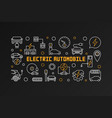 electric automobile line banner on dark vector image vector image
