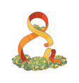 figure eight made of orange ribbon decorated with vector image