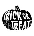 halloween trick or treat black pumpkin with spider vector image