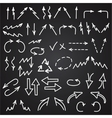 Hand drawn arrows icons set isolated on blackboard