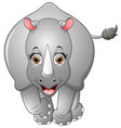 happy rhino cartoon isolated on white background vector image vector image